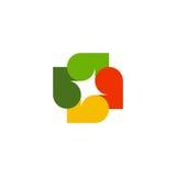 Logotipo colorido abstrato isolado das folhas no fundo branco Logotype do outono Elemento da árvore Ícone transversal incomum Fotografia de Stock Royalty Free