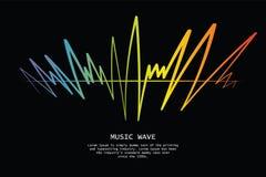 Logotipo colorido audio da onda no preto Jogador de m?sica do pulso ilustração do vetor
