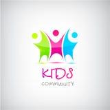 Logotipo colorido das crianças do vetor, crianças Imagem de Stock