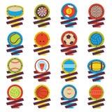 Logotipo colorido de las bolas de los deportes Fútbol, baloncesto, golf, voleibol, hockey, americano, tenis, billar, béisbol, bol Fotografía de archivo