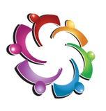 Logotipo colorido del abrazo del trabajo en equipo Foto de archivo libre de regalías