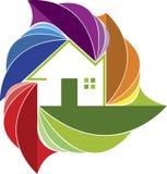 Logotipo colorido del hogar de la hoja stock de ilustración