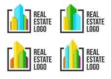 Logotipo colorido del paisaje urbano fijado en marco negro Nuevo logotipo de los edificios Plantilla real de la muestra de la age Fotografía de archivo