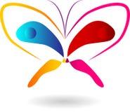 Logotipo colorido do vetor da borboleta imagens de stock