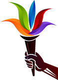 Logotipo colorido olímpico das chamas ilustração stock