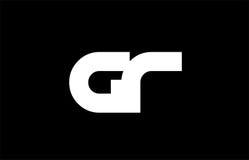 Logotipo común azul rosado intrépido blanco negro de la letra de GR G R Fotografía de archivo libre de regalías