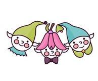 Logotipo com duendes e anões para o jardim de infância ilustração royalty free