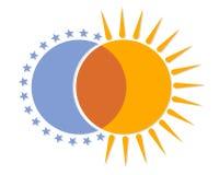 Logotipo com lua e sol Foto de Stock Royalty Free