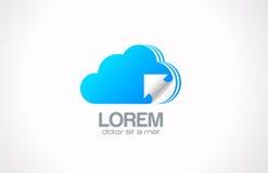 Logotipo computacional de la nube. Icono de transferencia de los datos. ilustración del vector