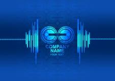 Logotipo con el fondo abstracto azul de la tecnología Imágenes de archivo libres de regalías