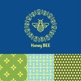 Logotipo con el insecto Abeja de la insignia para la identidad corporativa Fotos de archivo