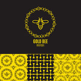 Logotipo con el insecto Abeja de la insignia para la identidad corporativa Imagenes de archivo