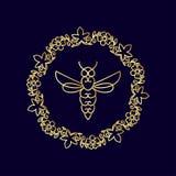 Logotipo con el insecto Abeja de la insignia para la identidad corporativa Imagen de archivo