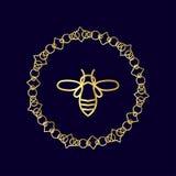Logotipo con el insecto Abeja de la insignia para la identidad corporativa Imagen de archivo libre de regalías