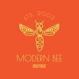 Logotipo con el insecto Abeja de la insignia para la identidad corporativa Foto de archivo libre de regalías