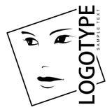 Logotipo con el retrato de una muchacha hermosa. Imagen de archivo