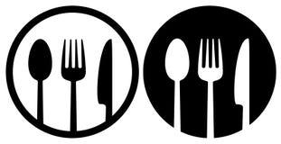 Logotipo con la cuchara, la bifurcación y el cuchillo Foto de archivo libre de regalías