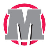 Logotipo con la letra M y los palillos del tambor libre illustration