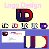 Logotipo con la plantilla de la tarjeta de visita, ejemplo del vector Fotos de archivo