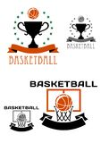 Logotipo con las bolas, cesta, trofeo del baloncesto Fotografía de archivo