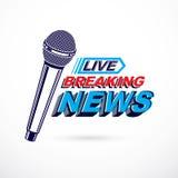 Logotipo conceptual de las noticias calientes compuesto usando la fractura de writi vivo de las noticias ilustración del vector