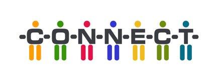 Logotipo conectado dos povos Fotografia de Stock