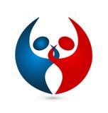 Logotipo conectado pares del icono del trabajo en equipo Imagenes de archivo