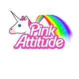 Logotipo cor-de-rosa do texto - fundo - Illlustration feminino - cite no fundo branco Foto de Stock