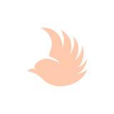 Logotipo cor-de-rosa isolado do vetor da opinião lateral de pássaro de voo da cor Logotype animal Ícone do contorno de asas Silhu Imagens de Stock Royalty Free