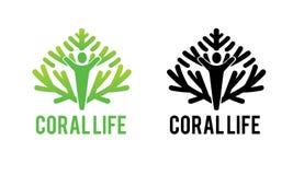 Logotipo coralino verde de la vida para el ambiente Imagenes de archivo