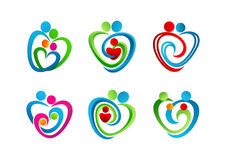 , logotipo, coração, parenting, símbolo, amor, ícone, conceito, cuidado, projeto Foto de Stock Royalty Free