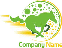 Logotipo corriente del caballo Imagenes de archivo