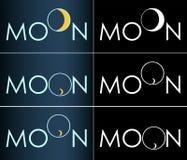 Logotipo crescente do negócio da lua abstrata da inscrição Fotos de Stock
