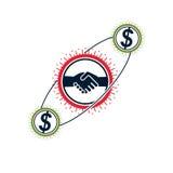 Logotipo criativo bem sucedido do negócio e do líder, sinal do aperto de mão, VE Imagens de Stock