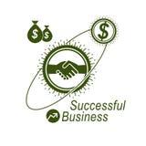 Logotipo criativo do negócio bem sucedido, sinal do acordo do aperto de mão, vec Fotos de Stock