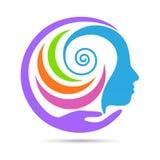 Logotipo criativo humano do cuidado da mente ilustração royalty free
