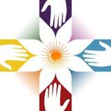 Logotipo cruzado del cuidado ilustración del vector