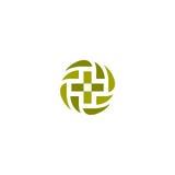Logotipo cruzado médico del vector verde Logotipo de la forma redonda muestra religiosa Cuida el emblema de la oficina Etiqueta d Fotos de archivo