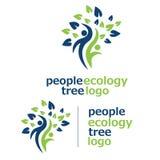 Logotipo 3 da árvore da ecologia dos povos Foto de Stock Royalty Free