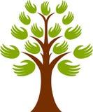 Logotipo da árvore da mão Fotos de Stock Royalty Free