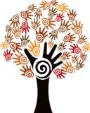 Logotipo da árvore da mão Foto de Stock Royalty Free