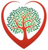 Logotipo da árvore do coração ilustração stock