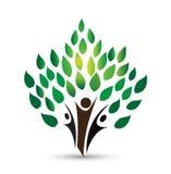 Logotipo da árvore dos povos, símbolo do bem-estar, vetor saudável da cenografia do ícone da aptidão ilustração do vetor