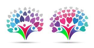 Logotipo da árvore genealógica, com família, pai, corações Imagem de Stock