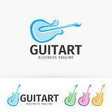 Logotipo da arte da guitarra Foto de Stock Royalty Free