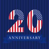 Logotipo da bandeira dos E.U. do aniversário 20 Imagem de Stock Royalty Free