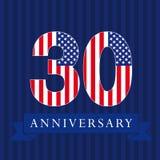 Logotipo da bandeira dos E.U. do aniversário 30 Imagem de Stock Royalty Free