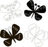Logotipo da borboleta Enegreça no sketchBlack branco e nas borboletas brancas com asas extendidas Imagem de Stock