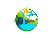 Logotipo da cachoeira ilustração do vetor