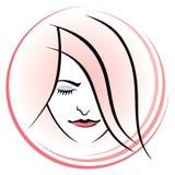 Logotipo da cara da mulher Imagens de Stock